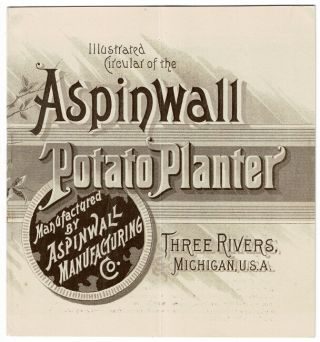 Illustrated circular of the Aspinwall potato planter manufactured by Aspinwall Manufacturing Co....