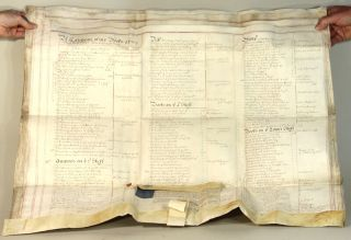 Manuscript probate document for a Bristol, England distiller and alderman, including an inventory of his library. Arthur Taylor.