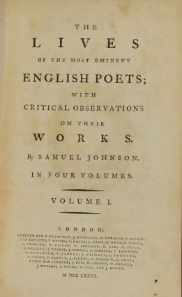 The lives of the most eminent English poets, with critical observations of their work