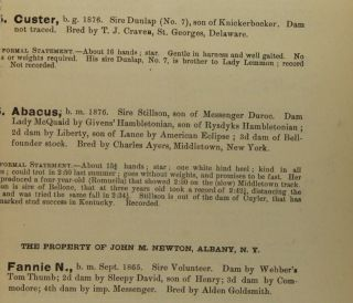 Kellogg's Special Combination Sale of Trotting Stock, the property of the prominent breeders and fanciers ... Messrs. Van Tassell and Kearney, auctioneers...