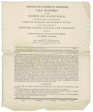 Proposals for publishing by subscription The History of the Town of Concord, Middlesex County,...