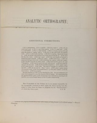 Analytic orthography: an investigation of the sounds of the voice, and their alphabetic notation; including the mechanism of speech, and its bearing upon etymology
