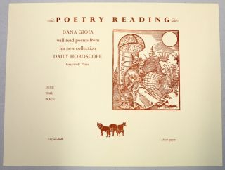 Poetry Reading Announcement. Dana Gioia