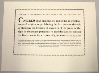 The First Amendment of the United States Constitution