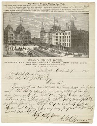 One-page autograph letter signed by C. G. V. Brower to J. A. Hillard beneath an elaborate wood...