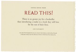 Read this! There is no greater joy for a bookseller. Ann Patchett