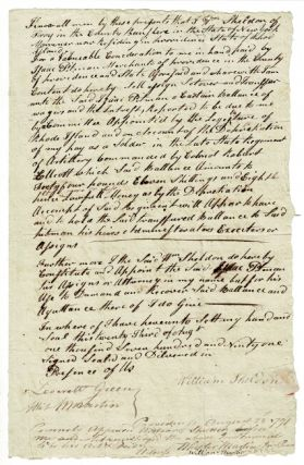 One-page legal document concerning additional pay for service in the Revolutionary War. William...