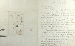 Warranty deed for a parcel of land, between Gerrit Smith of Peterboro, Madison County and his wife, Ann Carroll Smith; and James Lyon of the village and county of Oswego