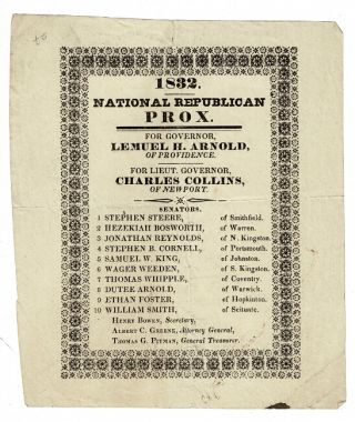 1832. National Republican Prox. For Governor, Lemuel H. Arnold, of Providence. For Lieut....