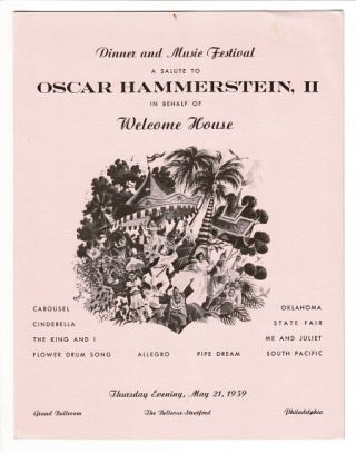 Dinner and music festival. A salute to Oscar Hammerstein, II on behalf of Welcome House