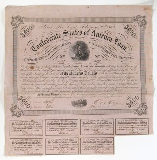 Confederate states of America $500 bond