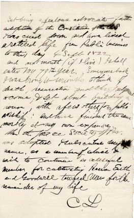 "Six-page autograph manuscript, signed ""CL"" being an autobiographical sketch"