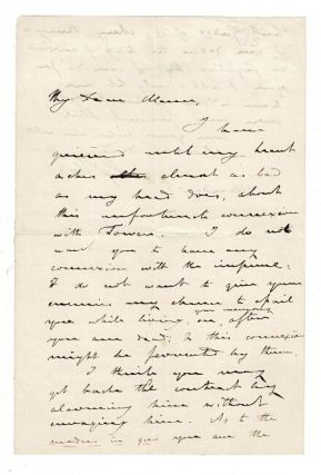 One and one-half page autographed letter signed addressed to Horace Mann concerning an...