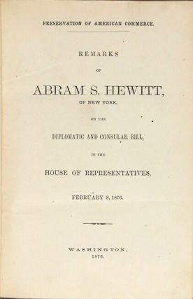 Octavo volume of 25 pamphlets on commerce, labor, tariffs, and trade, largely by U.S. representatives and senators