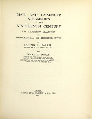 Mail and passenger steamships of the nineteenth century. The MacPherson Collection, with iconographical and historical notes