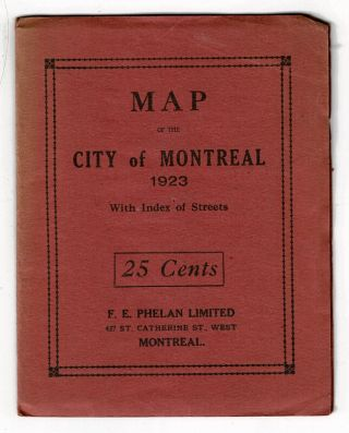 Map of the city of Montreal 1923 with index of streets