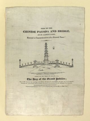 View of the Chinese pagoda and bridge in St. James Park. Erected in commemoration of a general...
