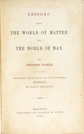 Lessons from the world of matter and the world of man