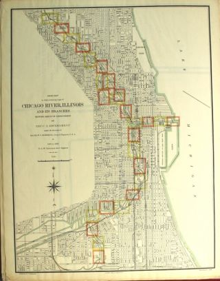 Atlas containing maps of the Chicago River, Illinois and its branches showing result of improvement by the U.S. Government under direction of Major W. L. Marshall, Corps of Engineers U.S.A. 1896 to 1899 G. A. M. Lilgencrantz, Asst. Engineer